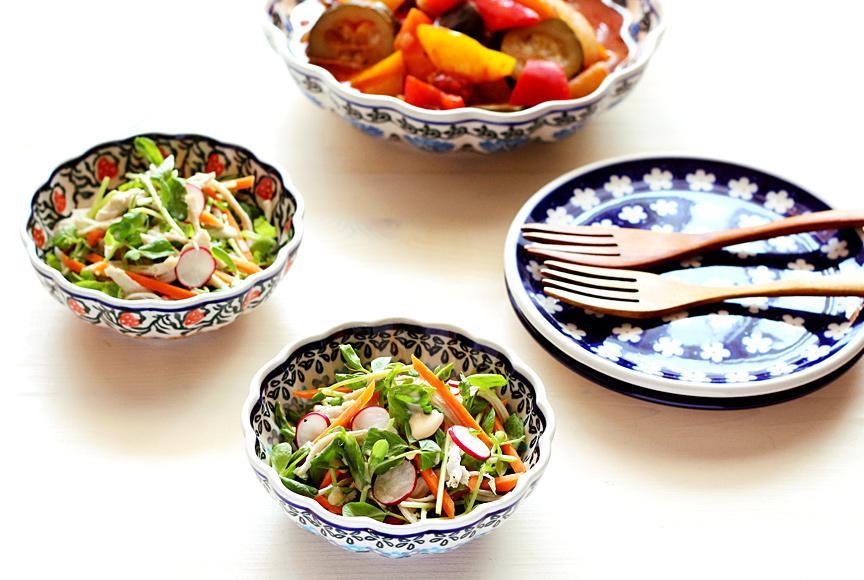 豆苗と人参のサラダ