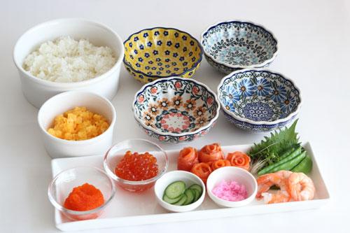 デコ寿司の材料/ポーリッシュポタリー